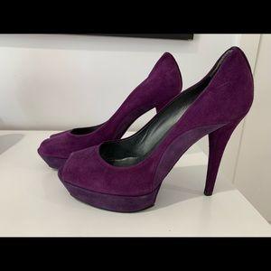 Burgundy and purple suade heels